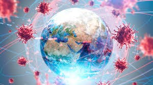 World globe with virus particles floating around it