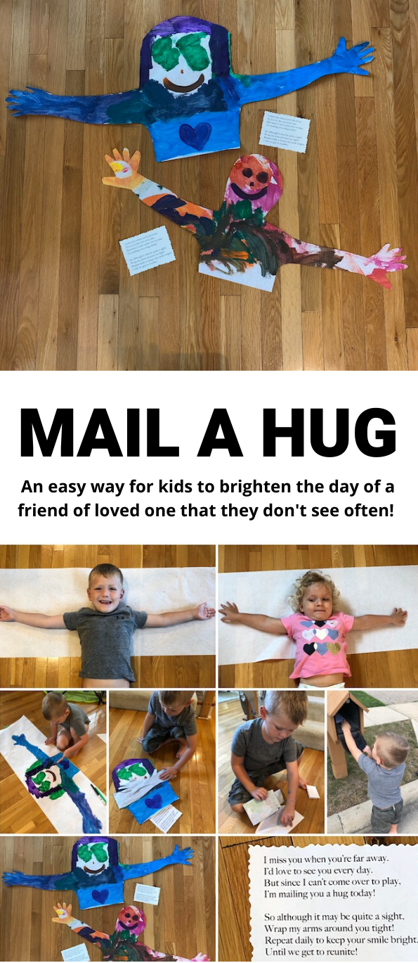 Mail a Hug. Photos of kids who have made a mail a hug drawing and sent it to their loved ones.