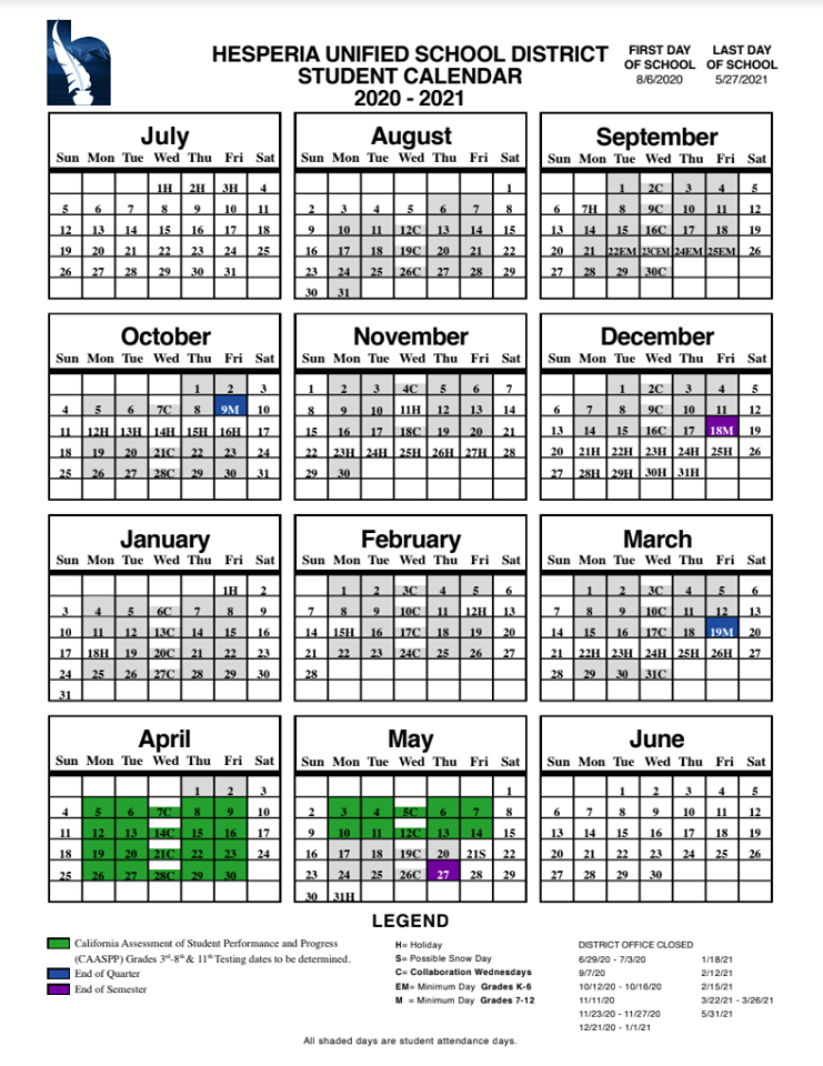 Hesperia Unified School District Student Calendar   Hesperia