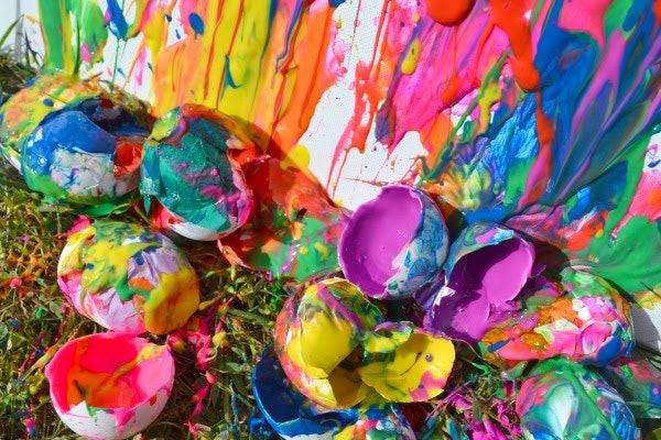 Paint filled eggs with canvas