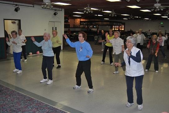 Elderly men and women doing Fitness and Fun Exercise Program