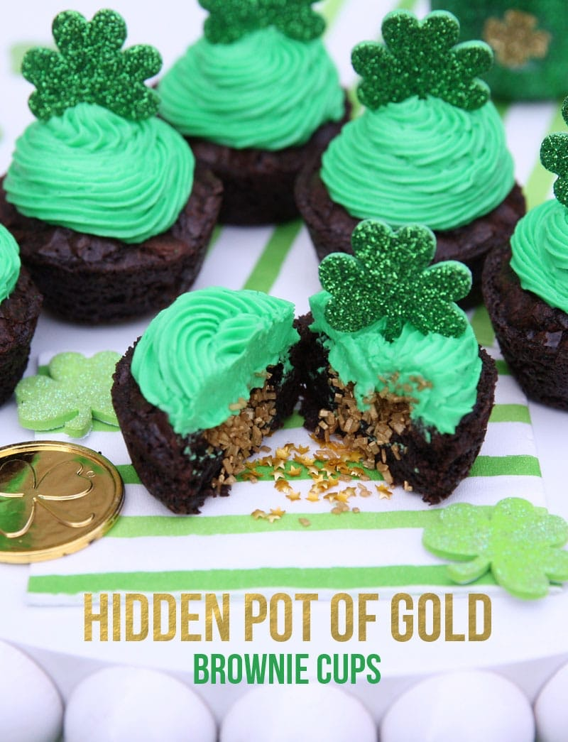 Hidden pot of gold brownie cups with green frosting