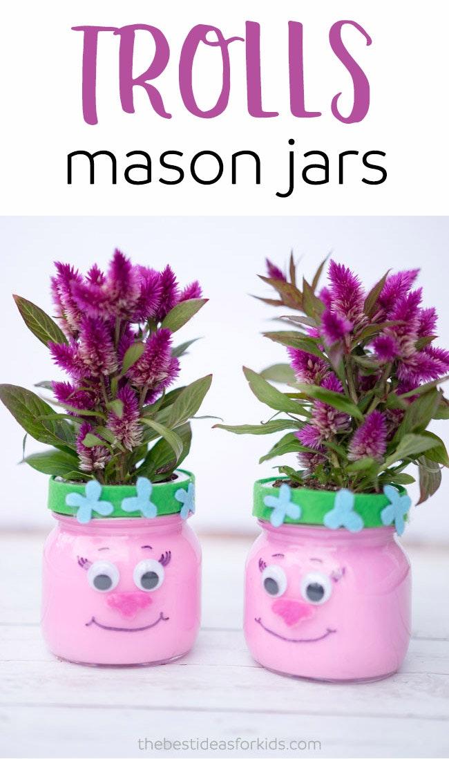 Trolls Mason Jars