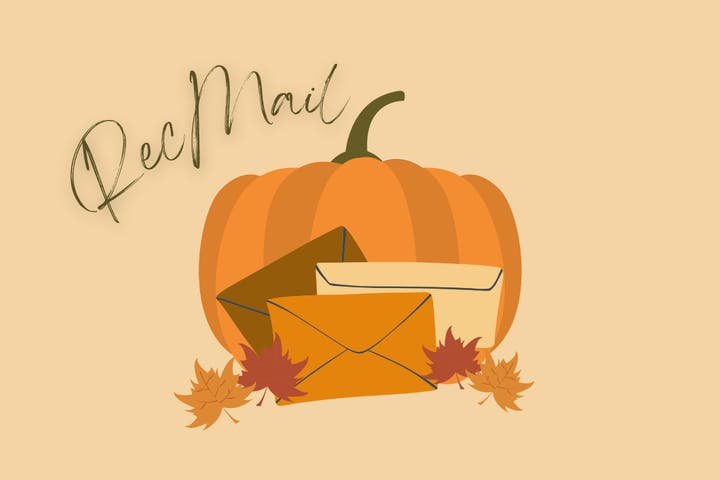Fall RecMail Banner with pumpkin, leaves, and envelopes
