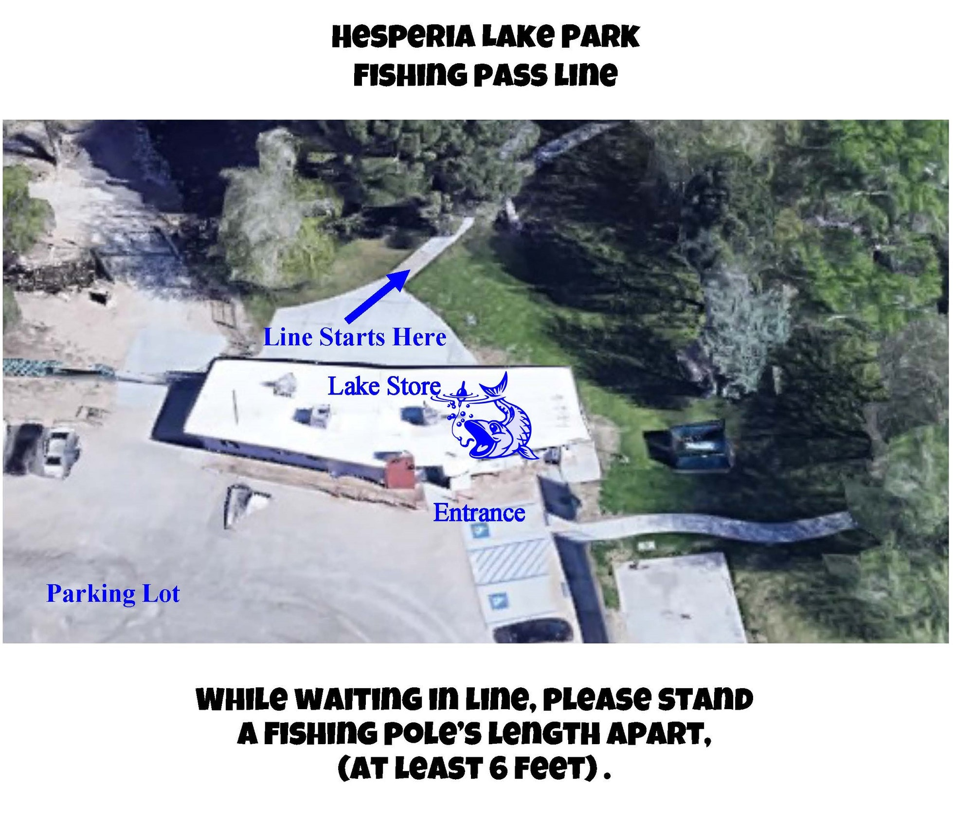 Bird's eye view of the store at Hesperia Lake Park showing where the line begins for fishing pass purchases, where to park, and which gate to enter from.