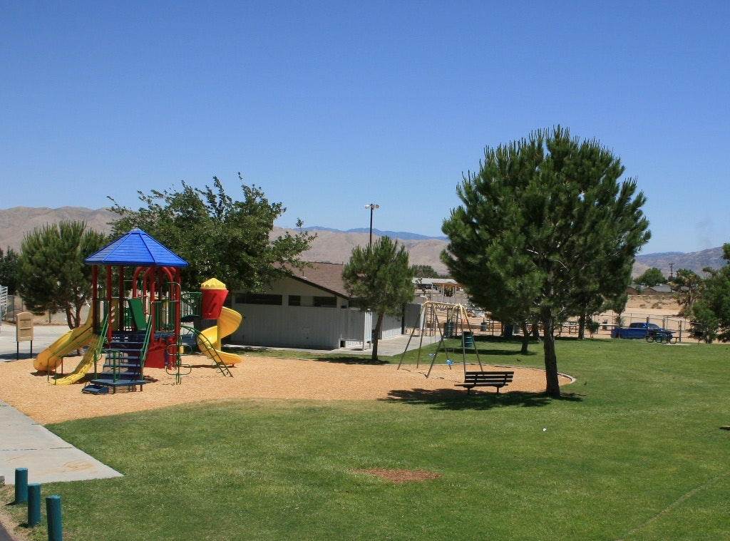 Live Oak Park playground and grass area
