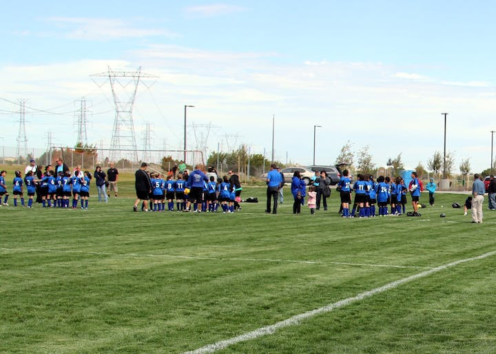 Three soccer teams in blue lined up on field at Maple Park
