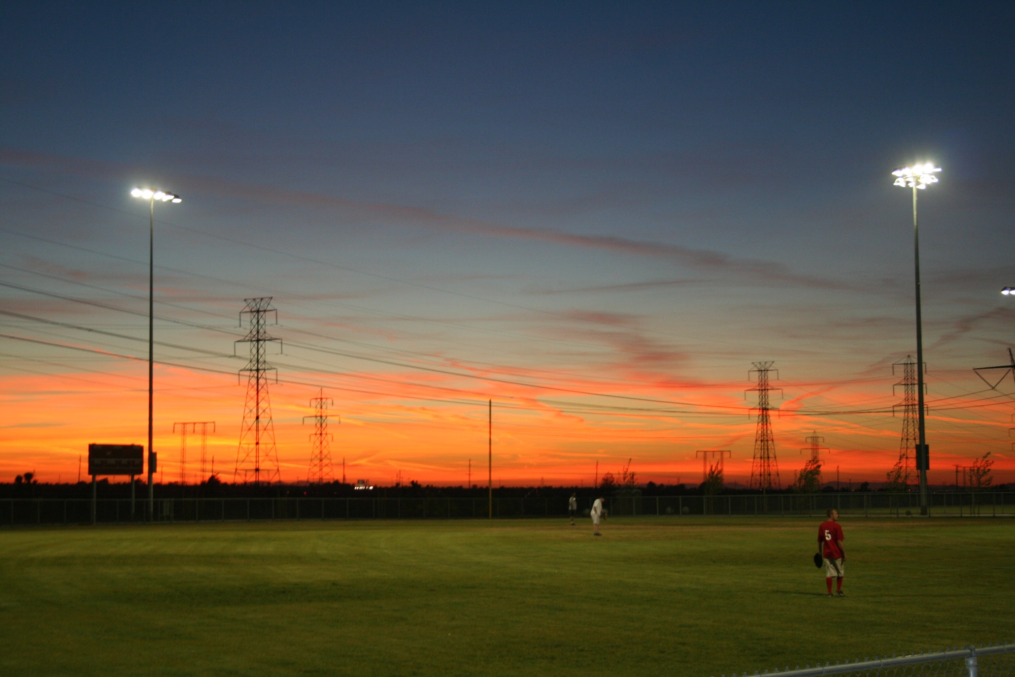 Sunset above baseball field at Hesperia Community Park