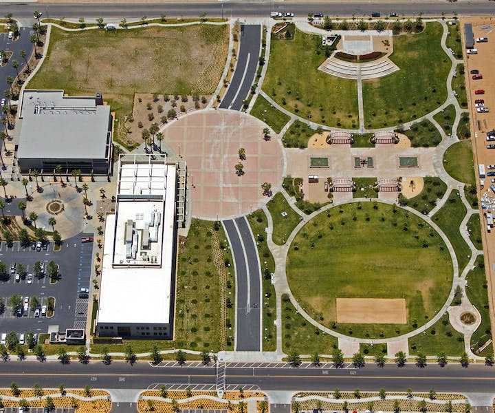 Bird's eye view of entire Hesperia Civic Plaza Park
