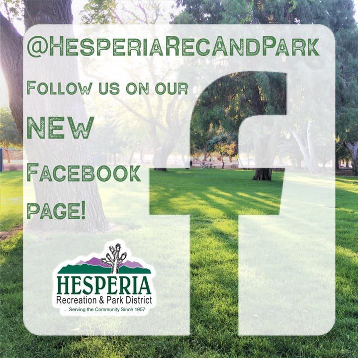 Photo of grass at Hesperia Lake Park, with the Facebook logo in front of it advertising our new Facebook page. @HesperiaRecandPark. Follow us on our new Facebook page!