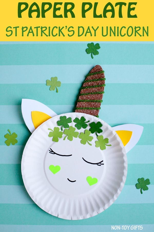 St. Patrick's Day Unicorn made from a paper plate