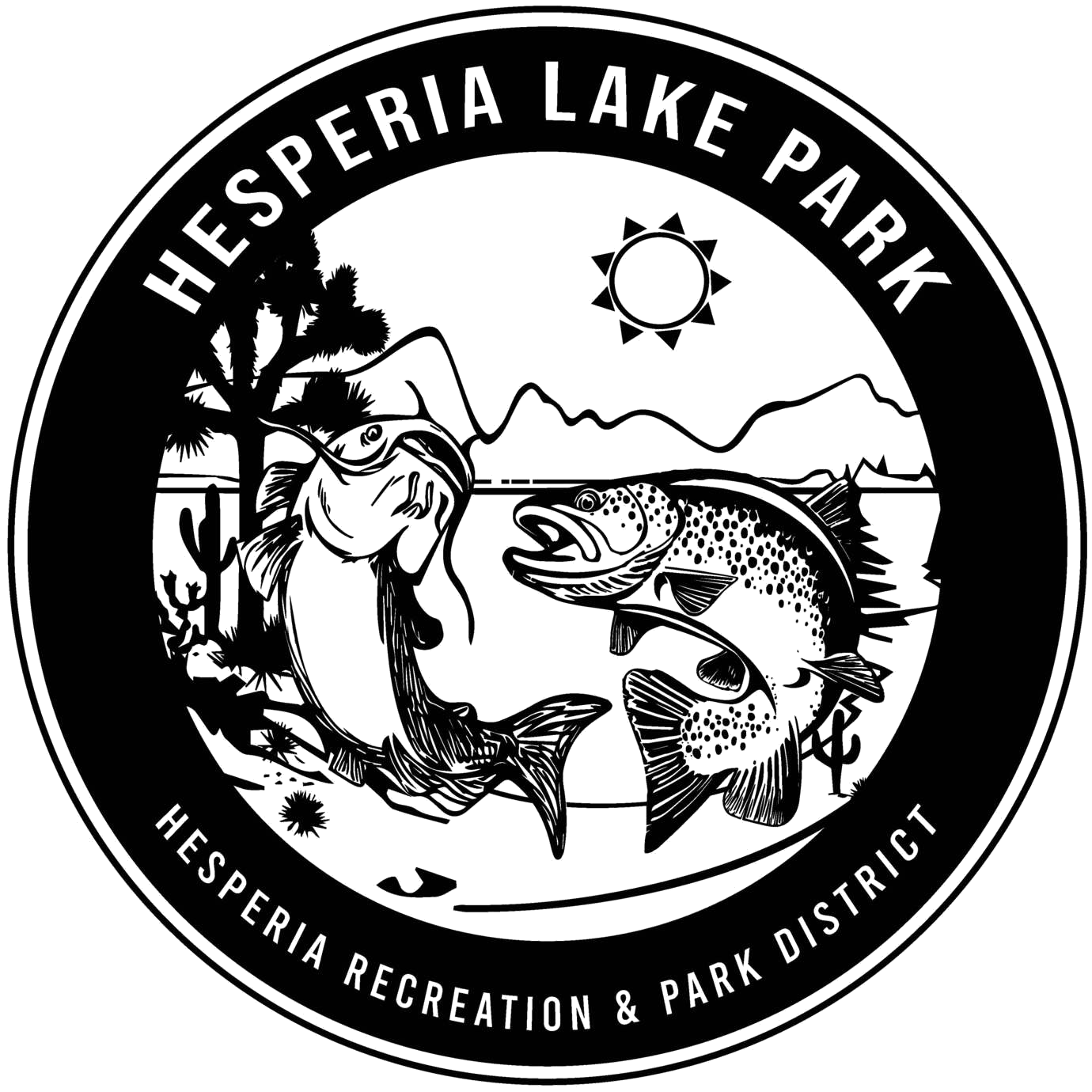 Hesperia Lake Park logo; Trout and Catfish cartoon, Hesperia Recreation and Park District