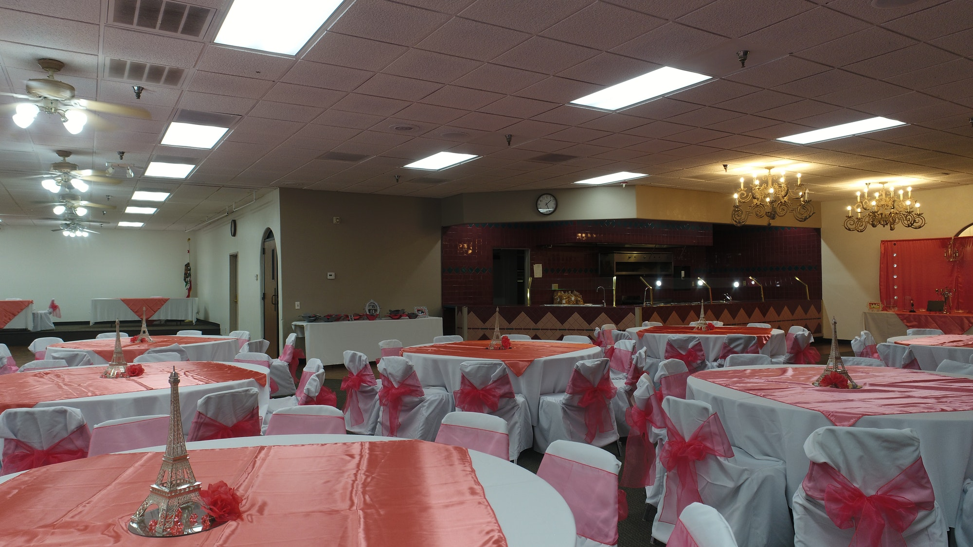 Inside view of Percy Bakker facility with tables set up for an event in North Room
