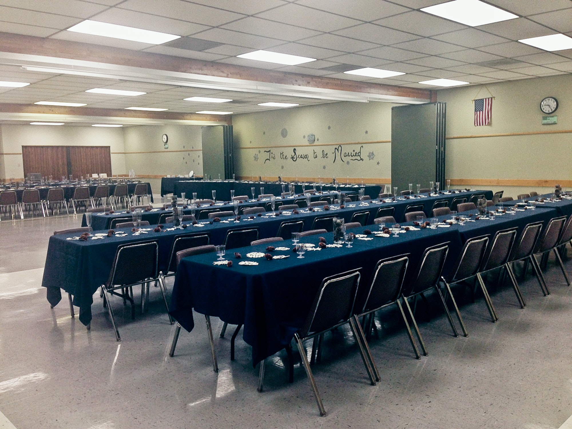 Mojave rooms set up with tables and chairs for an event