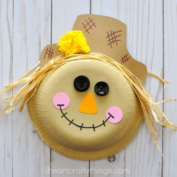 Paper bowl scarecrow craft