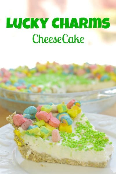 Lucky Charms cheesecake with lucky charms marshmallows on top