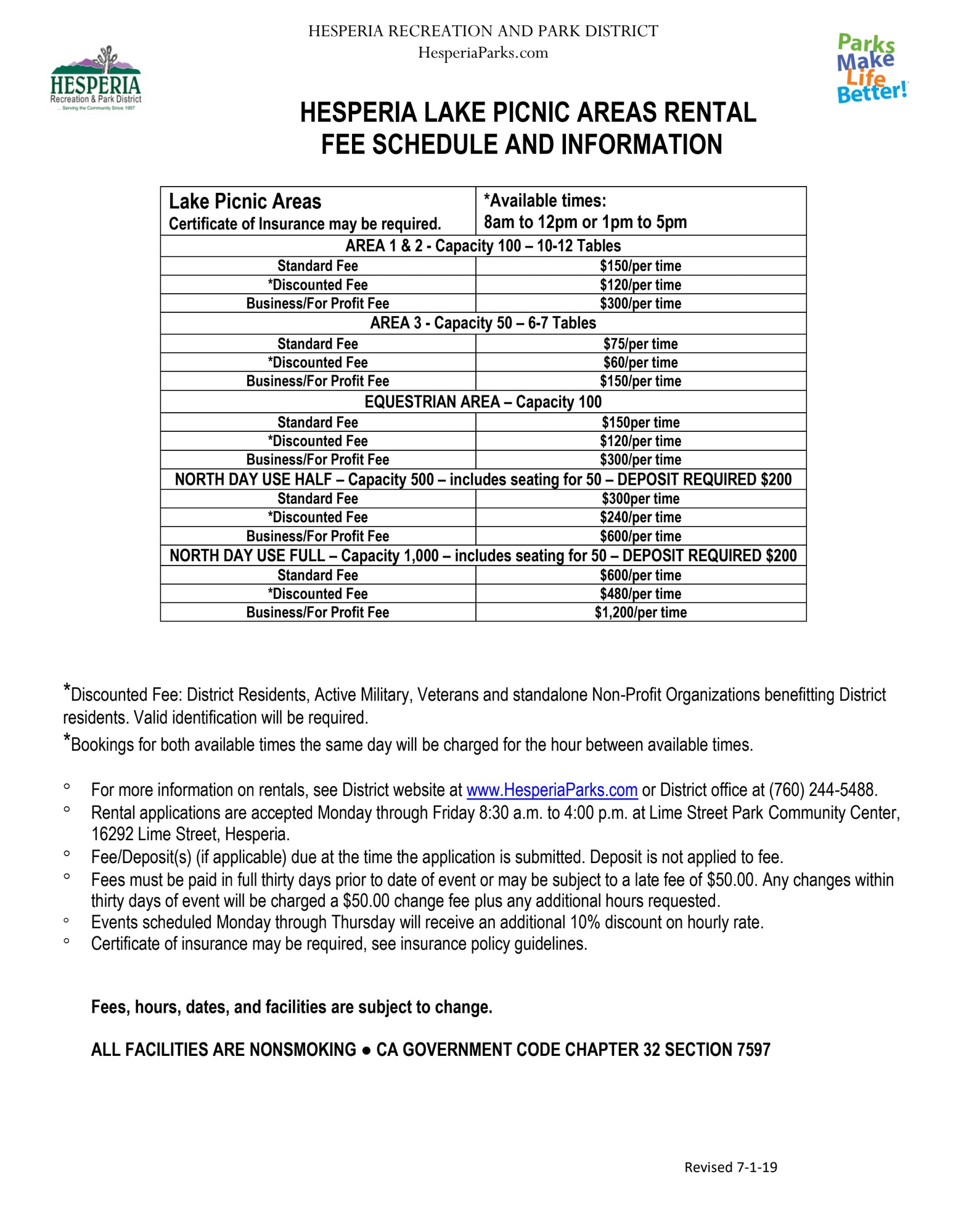 Hesperia Lake Picnic Area Rental Fee Schedule and Information. Lake Picnic Areas Certificate of insurance may be required. *Available Times 8 am to 12 pm or 1 pm to 5 pm. Area 1 & 2 Capacity 100 10-12 tables. Standard fee $150/per time. *Discounted fee $120/per time. Business/For Profit fee $300/per time. Area 3 Capacity 500- includes seating for 50 6-7 tables. Standard fee $75/per time. *Discounted fee $60/per time. Business/For Profit fee $300/per time. Equestrian Area Capacity 100 Standard fee $150/per time. *Discounted fee $120/per time. Business/ For Profit fee $300/per time. North Day Use Half- Capacity 500 - includes seating for 50- Deposit required $200. Standard fee $300/per time. *Discounted fee $240/per time. Business/For Profit fee $600/per time. North Day Use Full-Capacity 1,000-Includes seating for 50 - Deposit required $200. Standard fee $600/per time. *Discounted fee $480/per time. Business/For Profit $1,200/per time. *Discounted fee: District residents, active military, veterans and standalone non-profit organizations benefiting District residents. Valid identification will be required. *Bookings for both available times the same day will be charged for the hour between available times. For more information on rentals, see District website at www.hesperiaparks.com or call District office at (760) 244-5488. Rental applications are accepted Monday through Friday 8:30 am to 4:00 pm at Lime Street Park Community Center, 16292 Lime Street, Hesperia. Fee/Deposit(s) (if applicable) due at the time the application is submitted. Deposit is not applied to fee. Fees must be paid in full thirty days prior to date of event or may be subject to a late fee of $50.00. Any changes within thirty days of event will be charged a $50.00 change fee plus any additional hour requested. Events scheduled Monday through Thursday will receive an additional 10% discount on hourly rate. Certificate of insurance may be required, see insurance policy guidelines. Fees, hours, dates