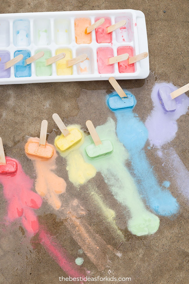 Sidewalk chalk ice