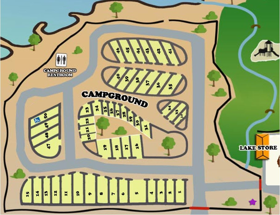 Map of campground at Hesperia Lake Park