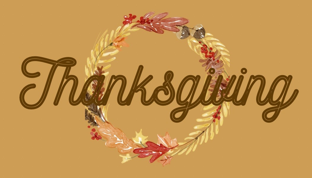 Thanksgiving banner with fall wreath