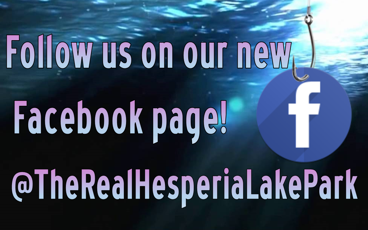 Water with Facebook sign on a fish hook. Follow us on our new Facebook page! @TheRealHesperiaLakePark