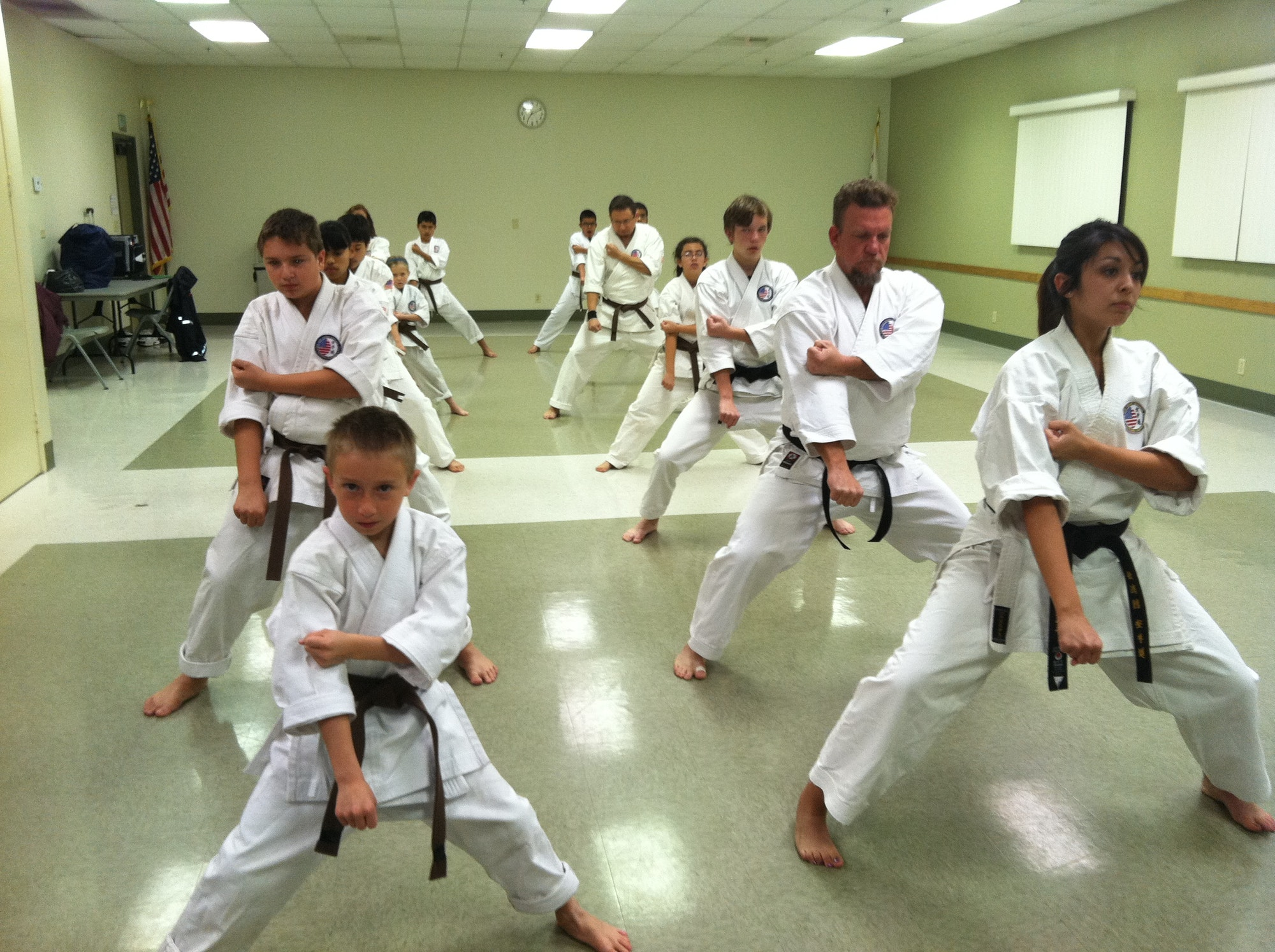 Older aged martial arts class in action