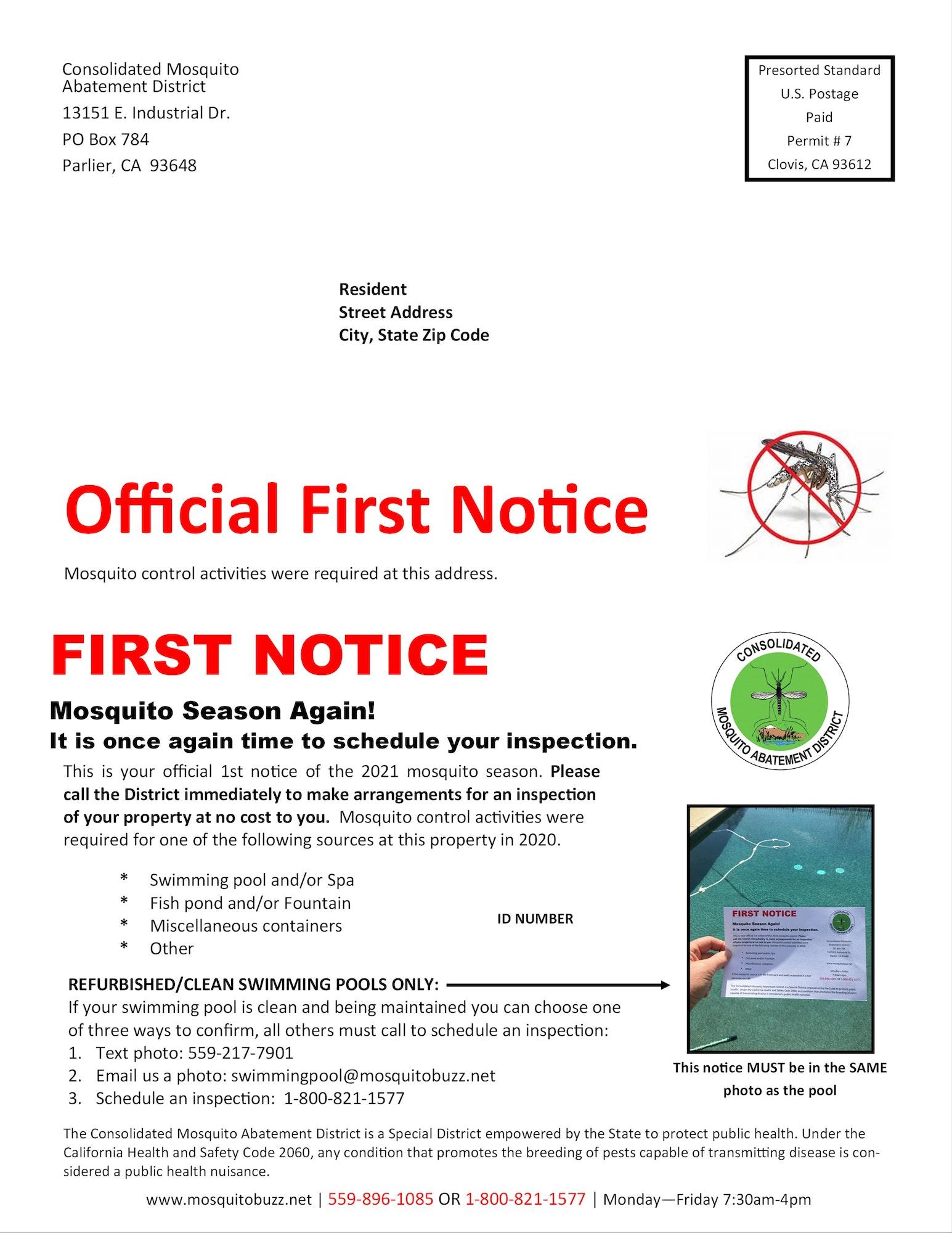 First notice mailer