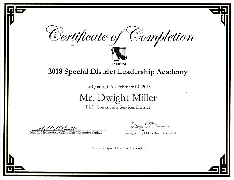 2018 Special District Leadership Academy Certificate of Completion ...
