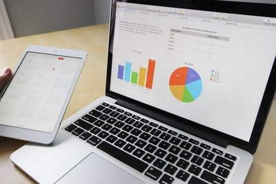 Image of computer analyzing data with charts and graphs