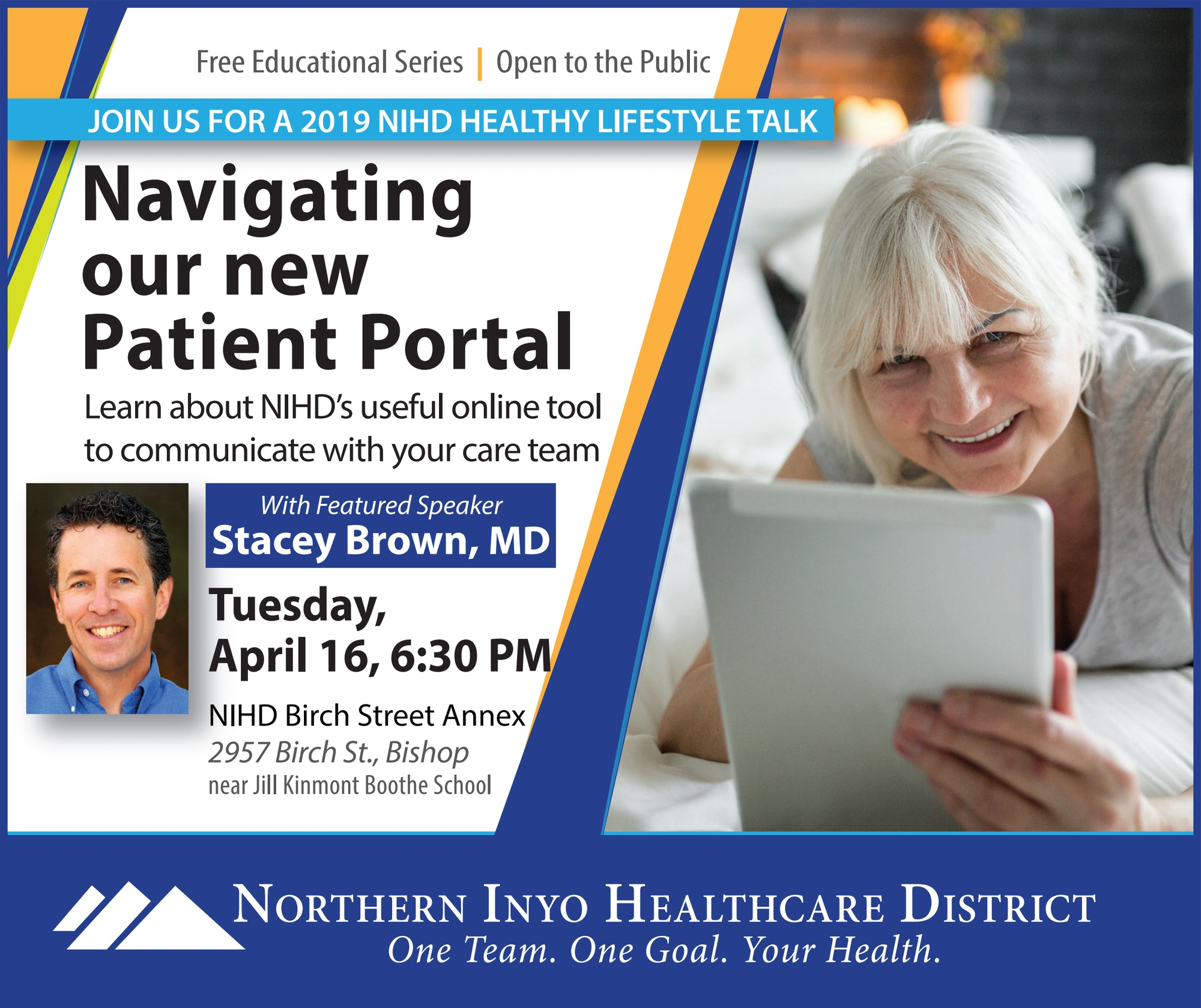 Poster for Patient Portal Healthy Lifestyle Talk for April 16