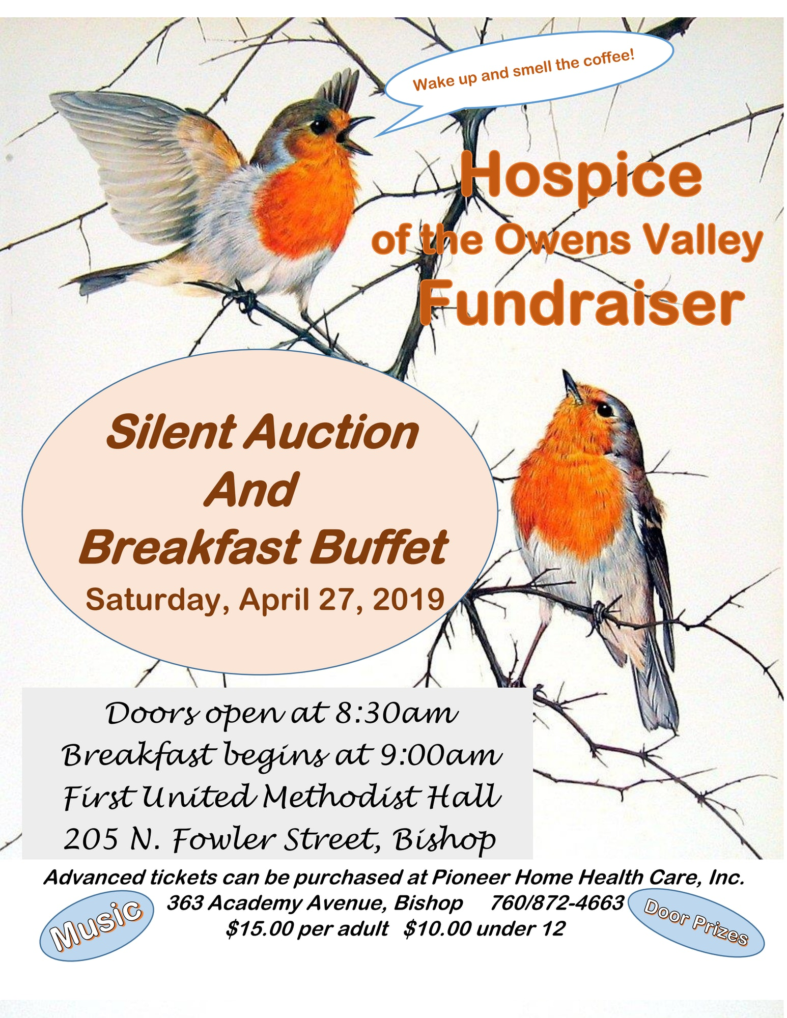 Poster for Hospice Silent Auction & Breakfast Buffet