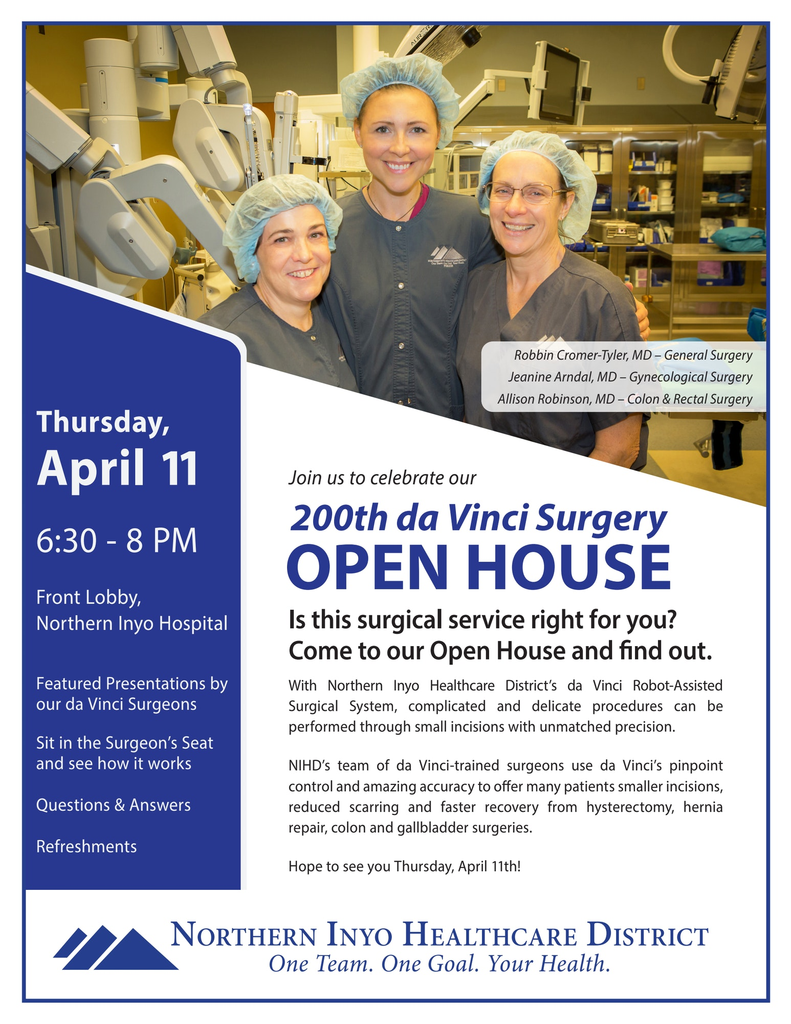 Poster for 200th da Vinci Surgery Open House on April 11