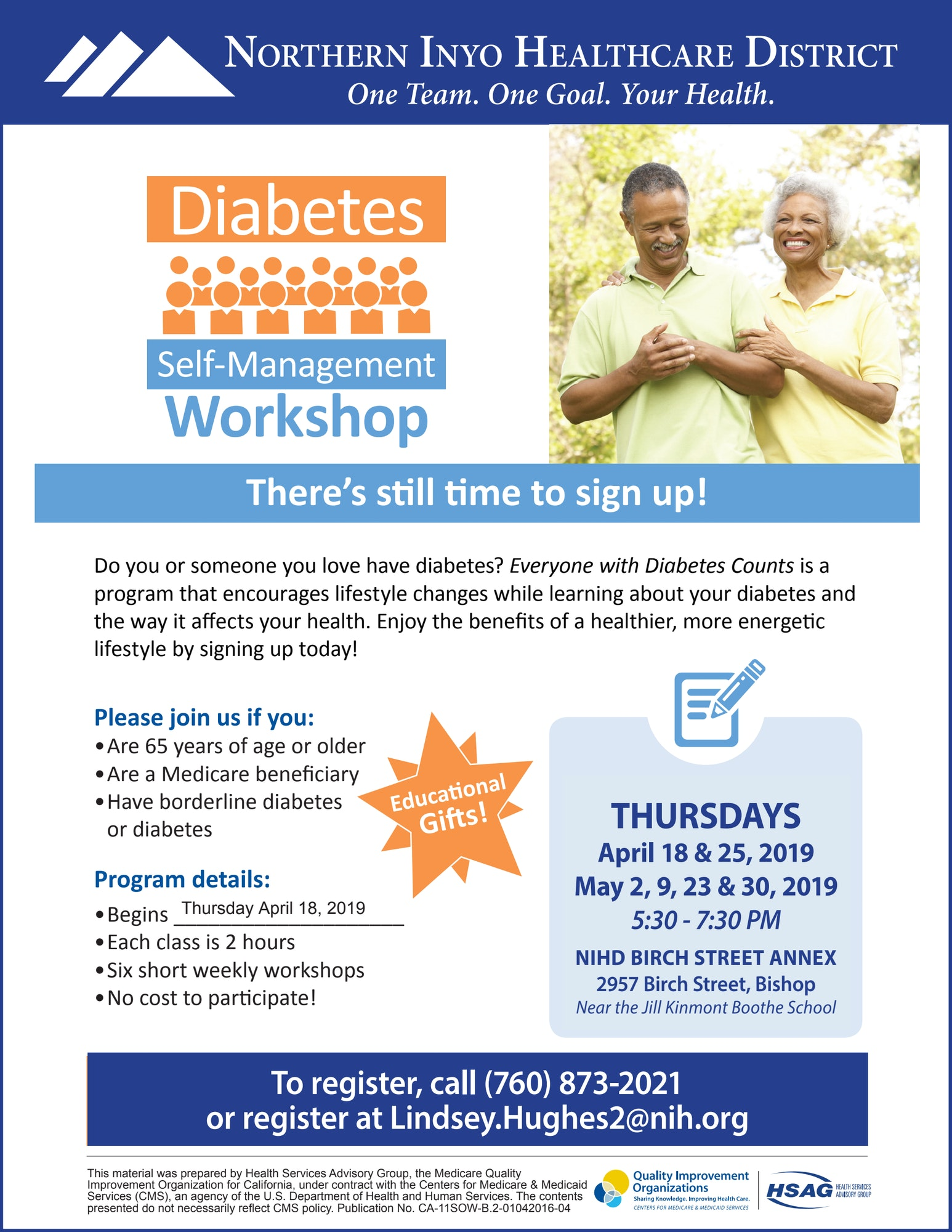 Poster for six-week  Diabetes Self-Management Class