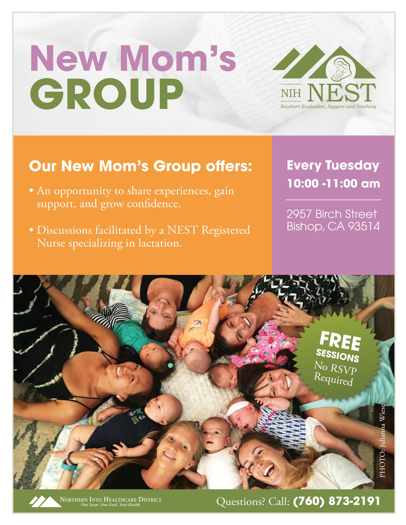 Poster for New Moms Group -- Questions? Call (760) 873-2191