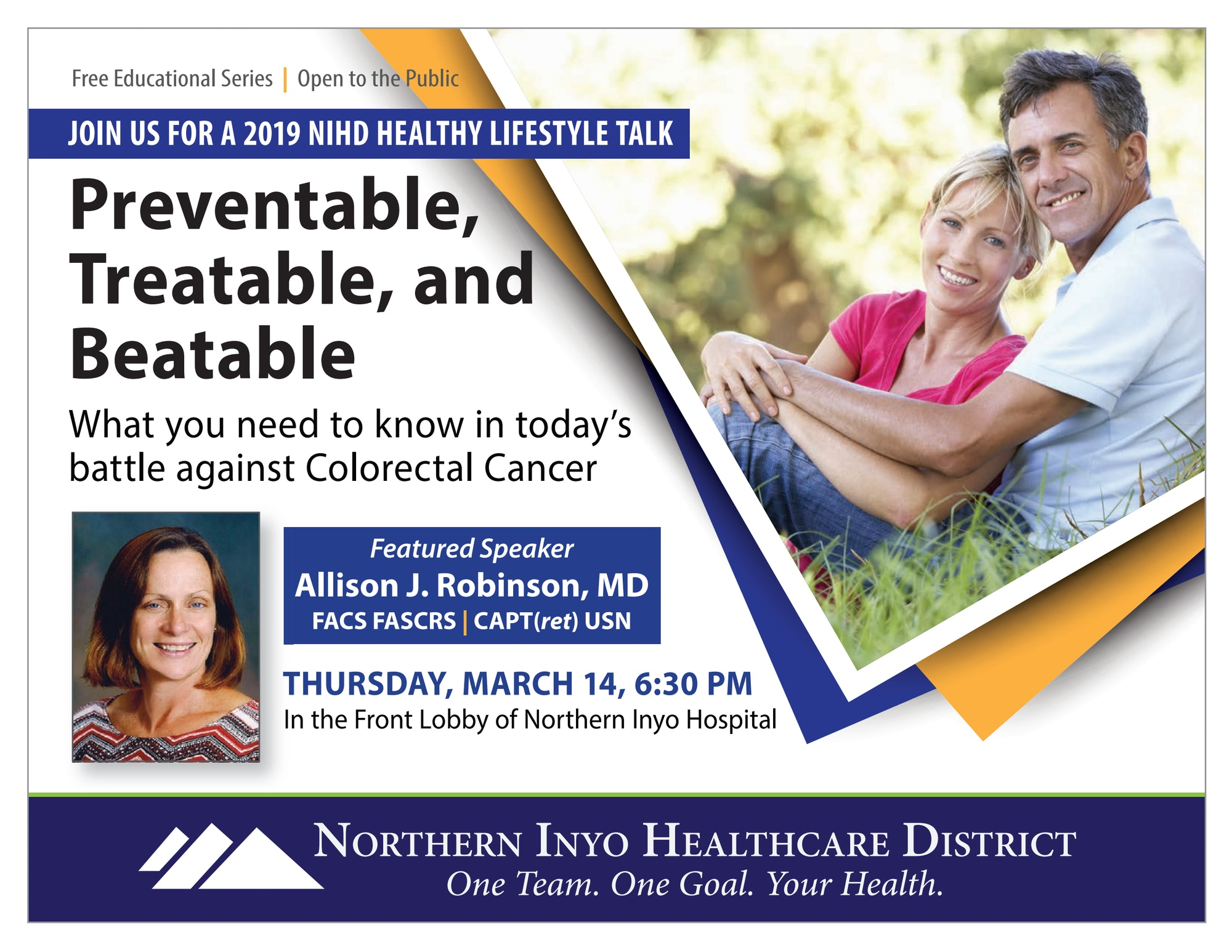 Poster for Colorectal Cancer Talk by Dr. Allison Robinson on March 14, 2019, 6:30 PM, Birch Street Annex