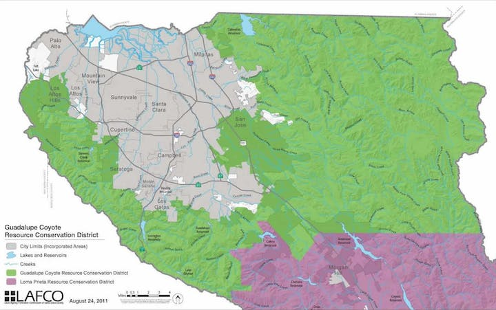 Map of the service area for Guadalupe-Coyote Resource Conservation District.
