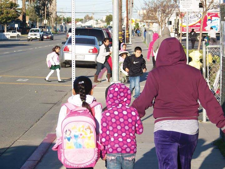 Children outside a school crosswalk
