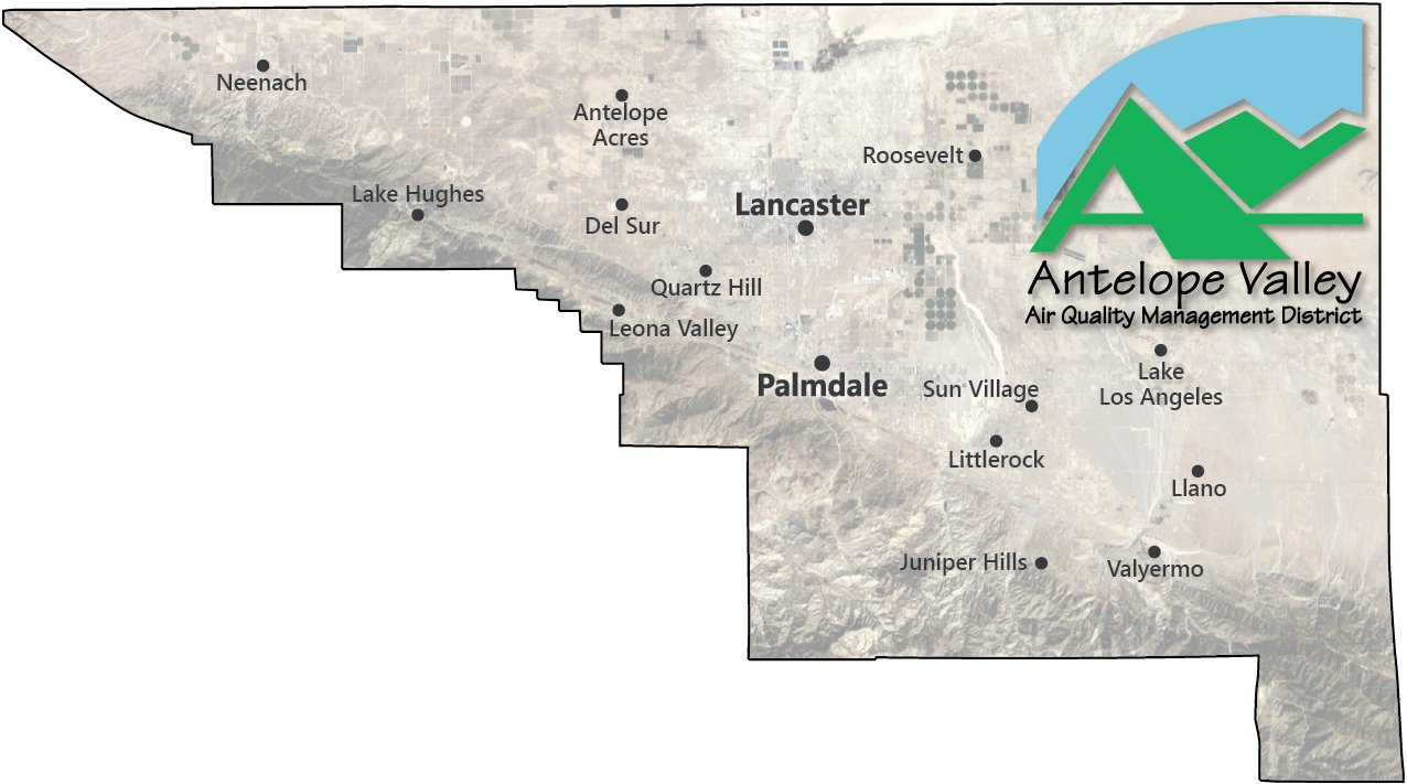 Illustrative map of the jurisdictional boundaries of the Antelope Valley Air Quality Management District.