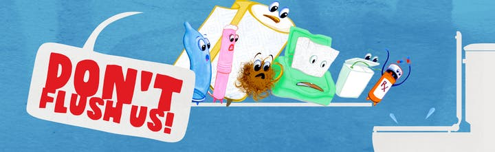 Cartoon image of unflushable items: prescription drug bottle, floss, wipes, hair, etc