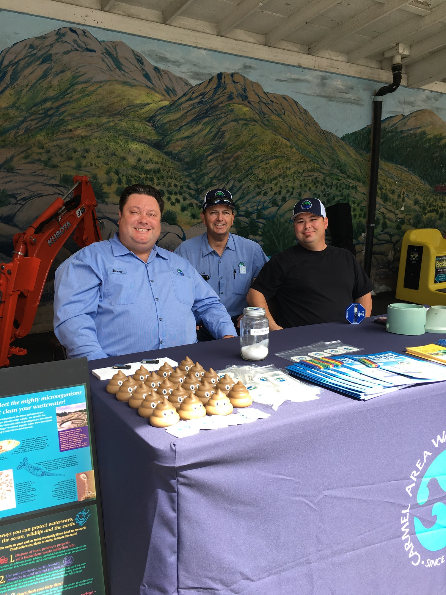 2019-08-31 Carmel Area Watewater Staff Education Booth at Monterey County Fair-with popular Mr. Poop.'s squeeze.
