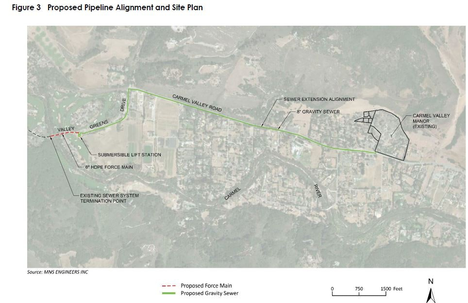 Proposed Pipeline Alignment & Site Plan Carmel Valley Manor Sewer