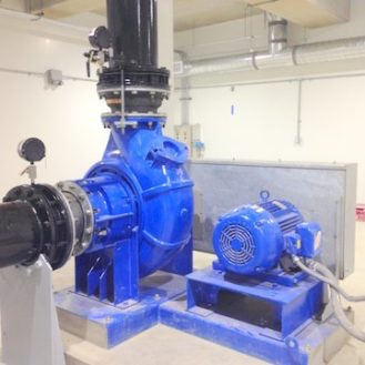 Picture of blue painted industrial machine equipment