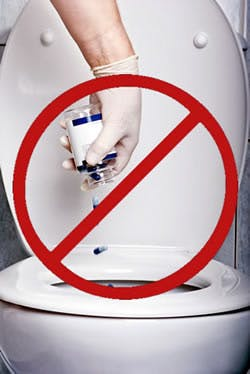 Picture advising do not flush medications