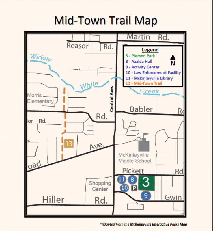 a map of midtown McKinleyville