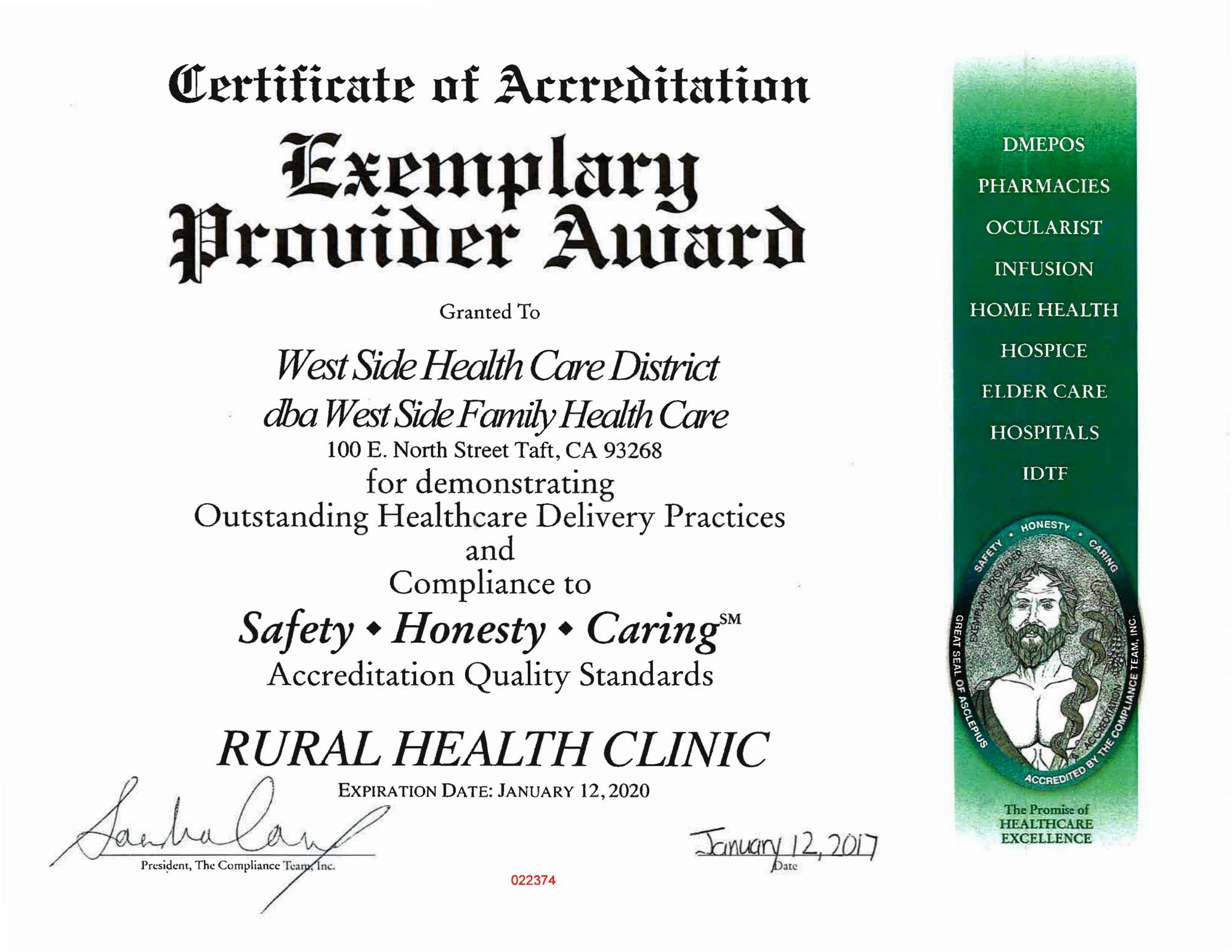 Award, Certificate, Healthcare