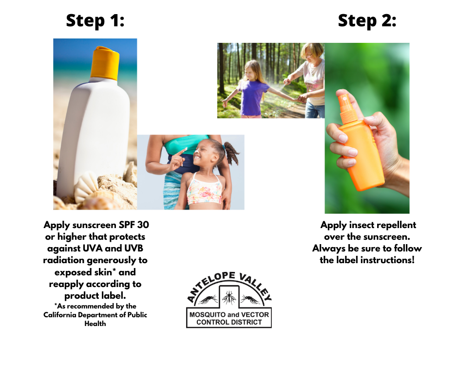 Image that states to apply insect repellent over sunscreen