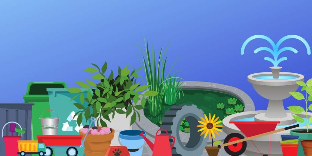 Graphic of breeding sources: Tires, wheelbarrows, pots, a pond, kids toys, wagon, trash cans and so on