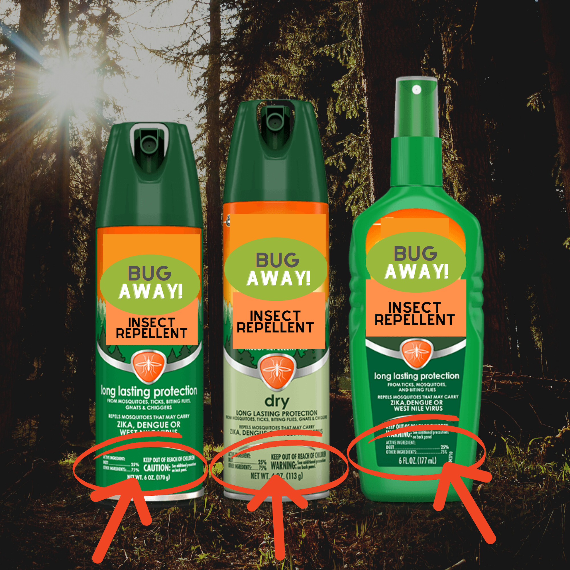 image showing that the percentage of active ingredient in repellent is usually on the bottom front of the bottle