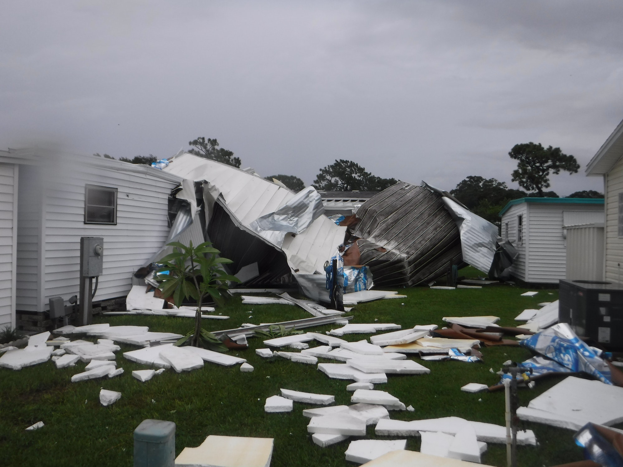 Mobile homes damaged by severe weather
