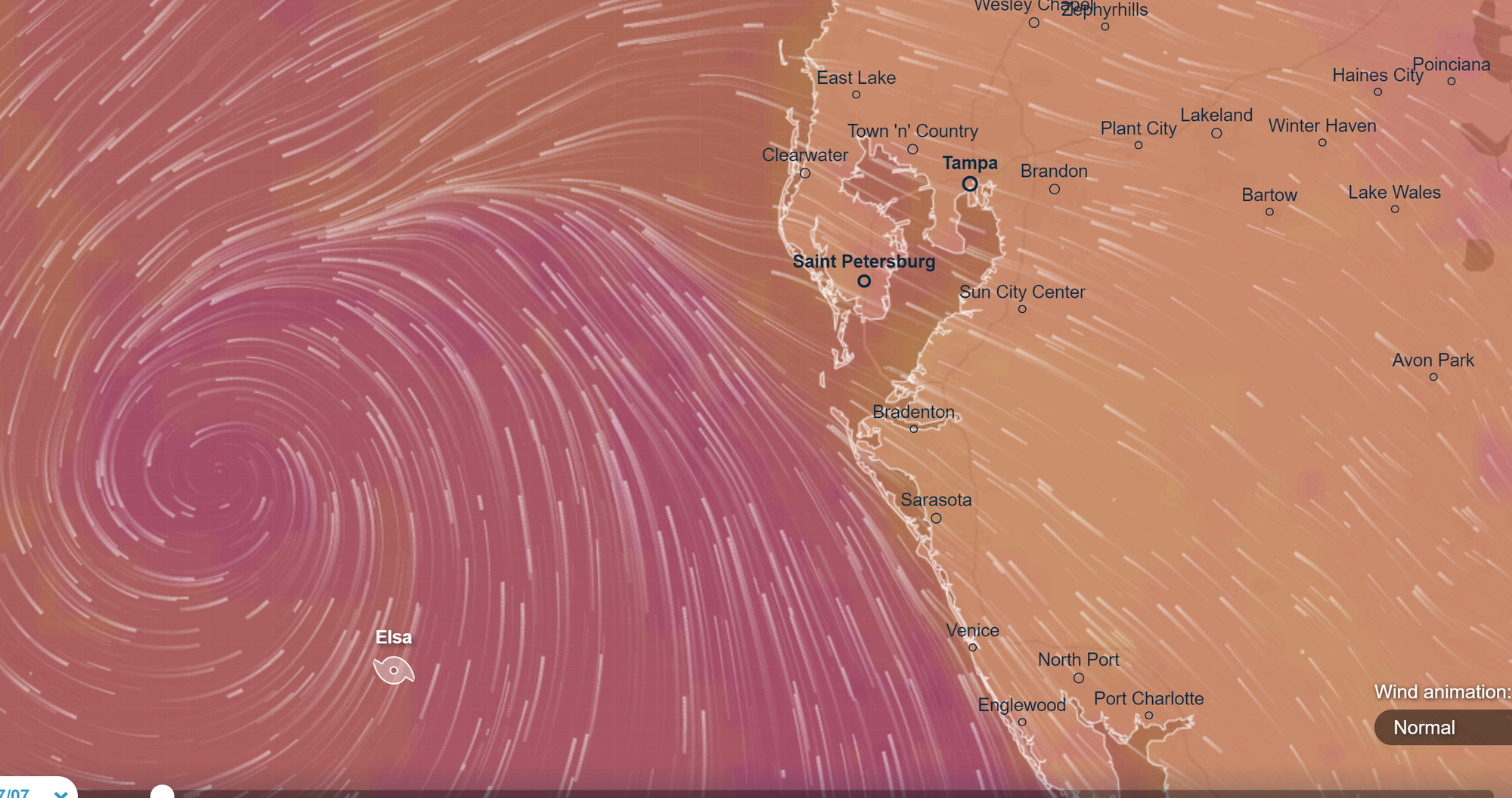 Wind Flow Picture of Hurricane Elsa